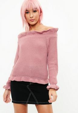 Rose Frill Hem Bardot Sweater
