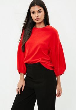Jersey con manga globo de forro polar en rojo
