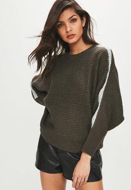 Błyszczący sweter w kolorze khaki