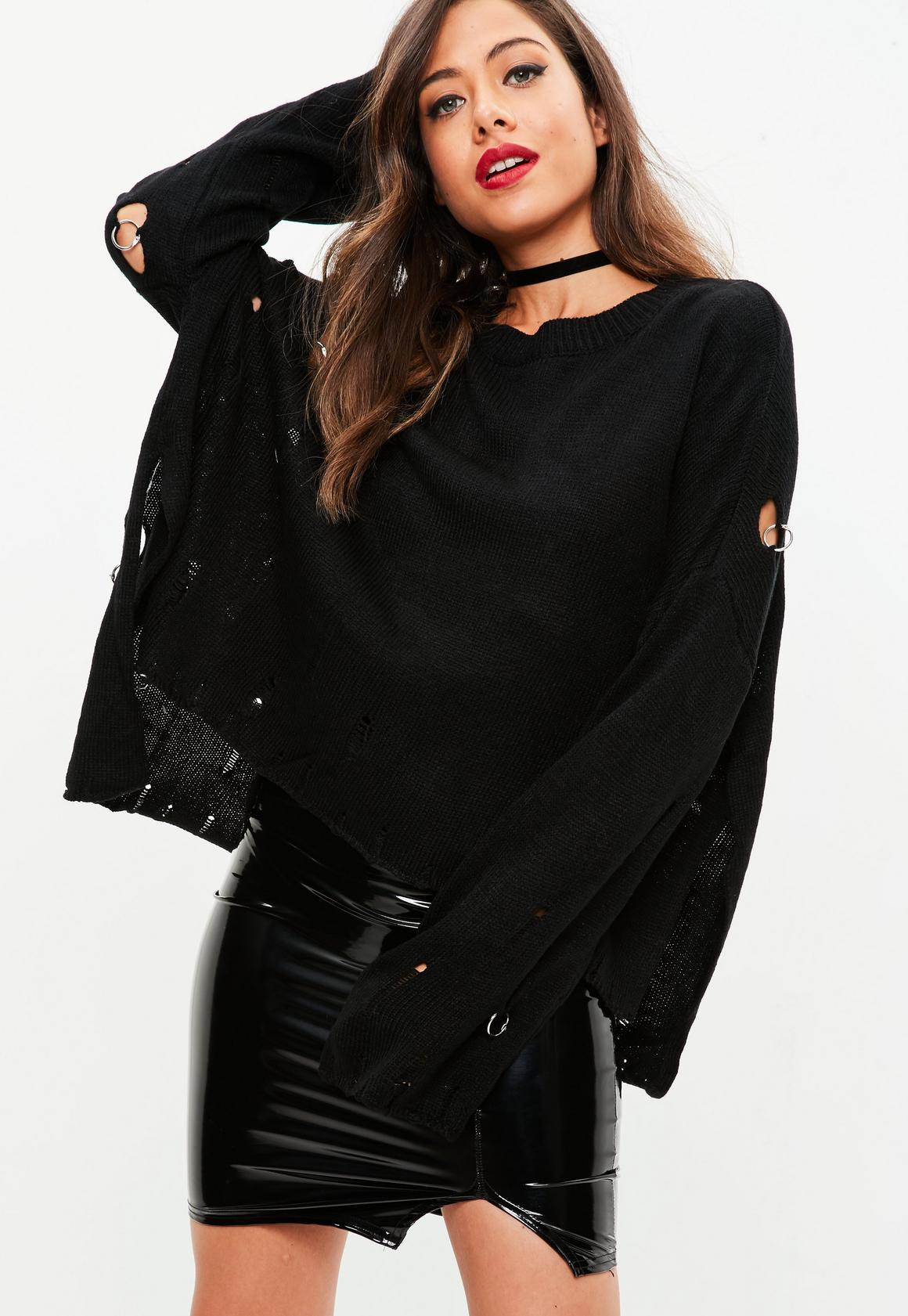 Black Distressed Oversized Sweater | Missguided