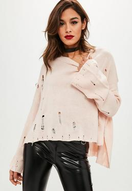 Pink Distressed Oversized Sweater