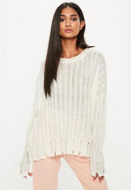 White Destroyed Hem Oversized Sweater