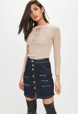Nude Lace Up Knitted Top