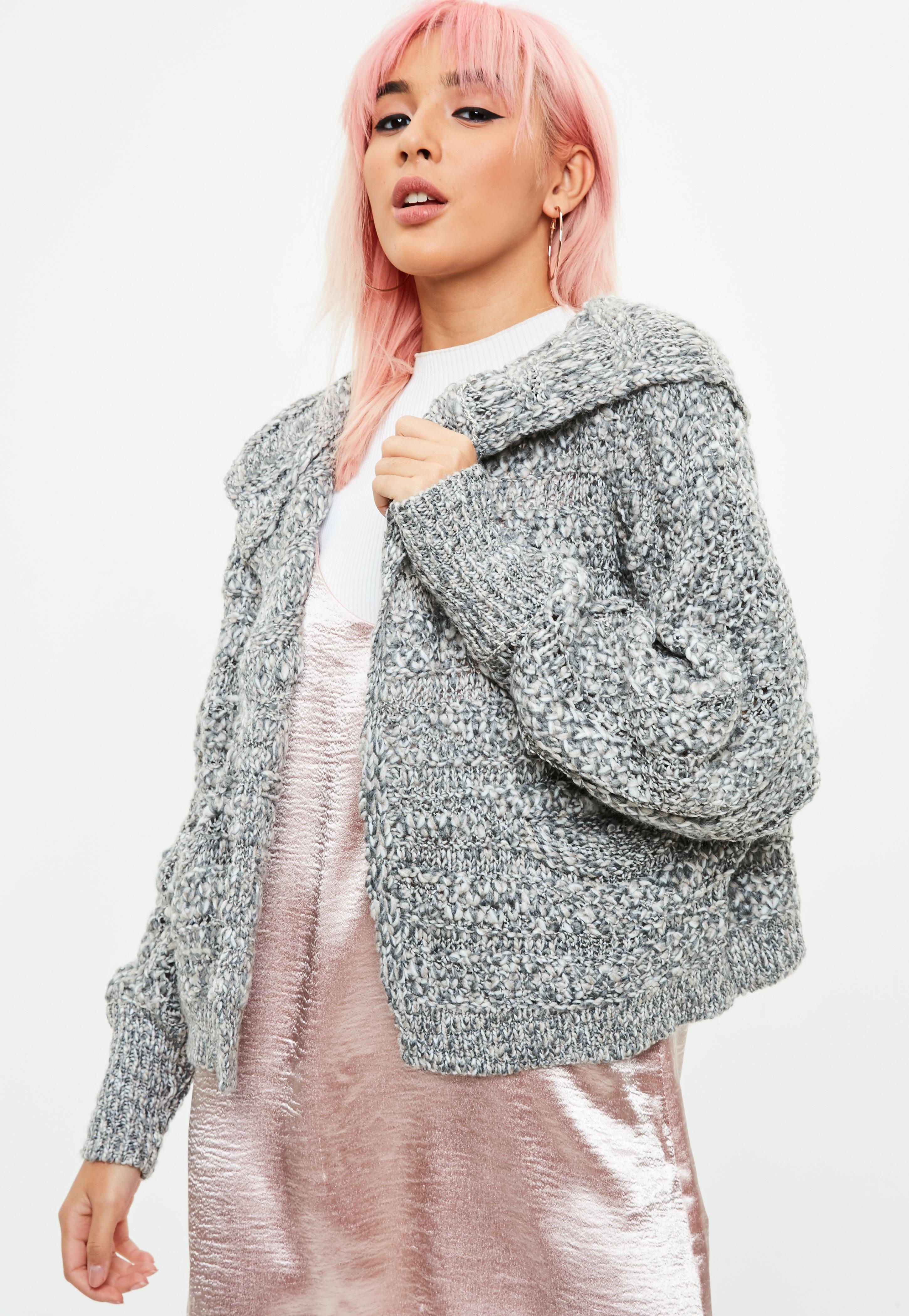 Gray Chunky Knit Cardigan | Missguided