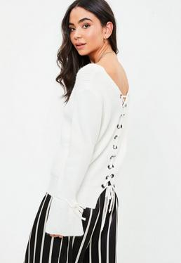 White Tied Detail Cuff Sweater