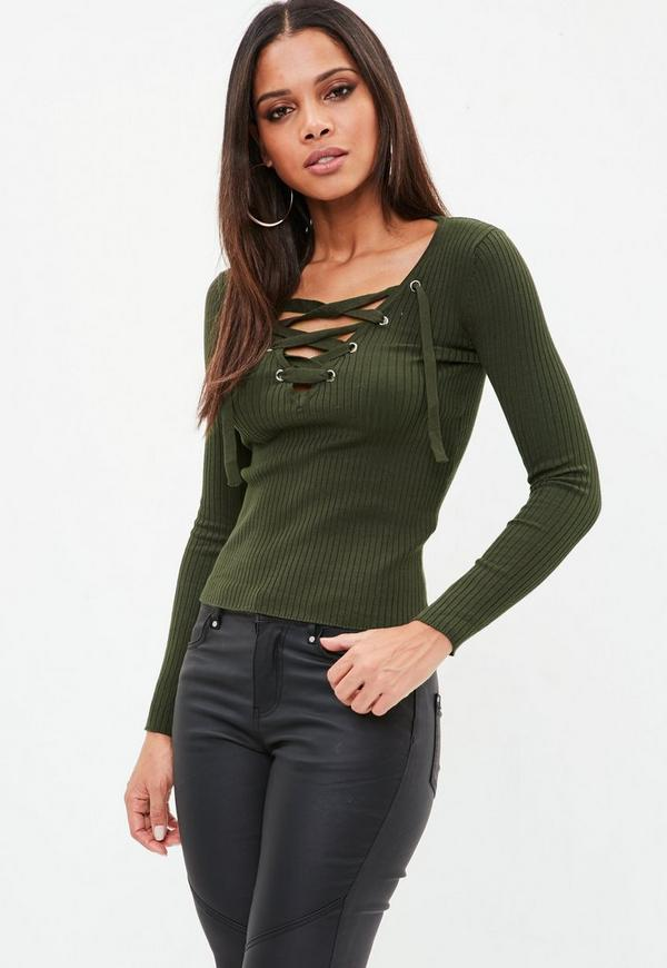 2be723aed6 ... Khaki Lace Up Knitted Ribbed Top. Previous Next
