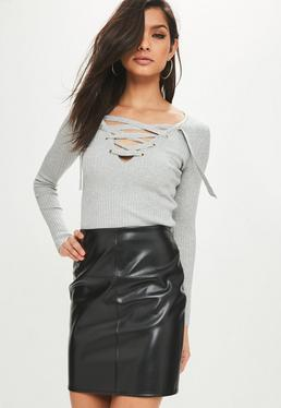 Grey Lace Up Knitted Top
