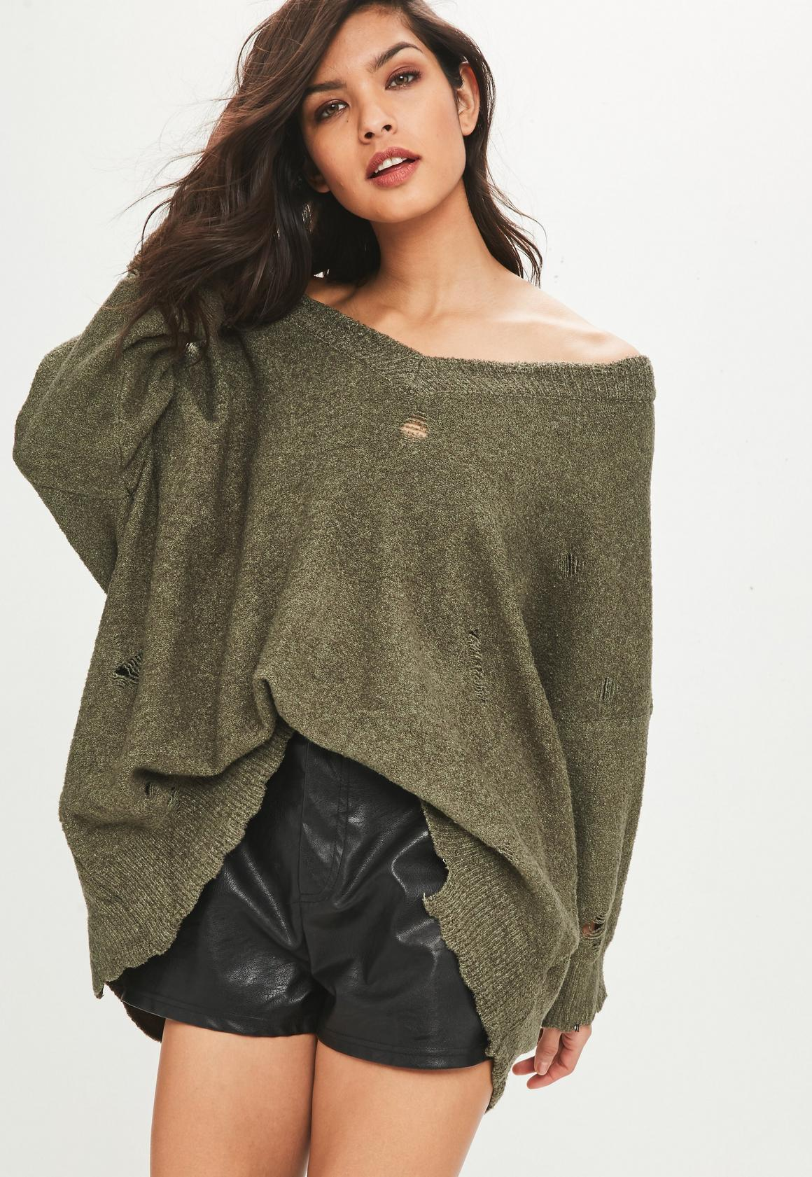 Khaki Distressed Oversized Off Shoulder Sweater | Missguided