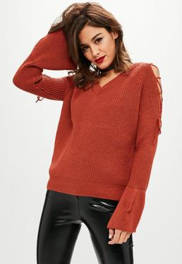 Rust Shoulder Tie Chunky Sweater