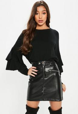 Black Double Frill Sleeve Knitted Jumper