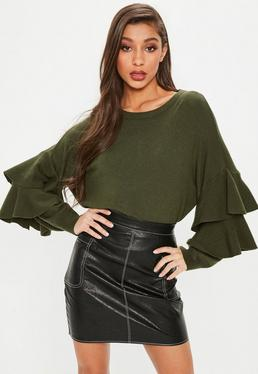 Green Double Frill Sleeve Knitted Jumper