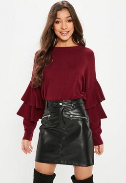 Burgundy Double Frill Sleeve Knit Jumper