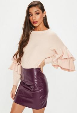 Pink Double Frill Sleeve Knitted Jumper