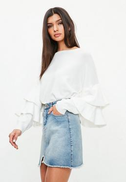White Double Frill Sleeve Knitted Jumper