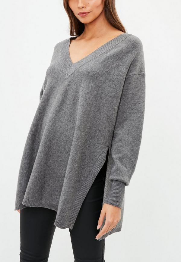 2307989d66455f Grey V Neck Over Sized Side Split Knitted Jumper