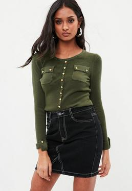 Khaki Button Front Ribbed Sweater