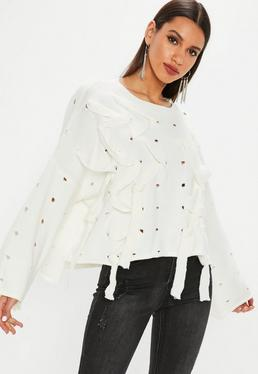 White Distressed Lace Up Sweater