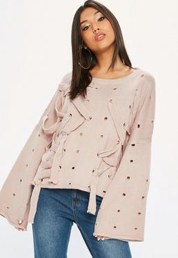 Pink Distressed Ribbon Lace Up Jumper