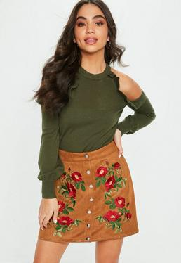 Khaki Frill Cold Shoulder Sweater
