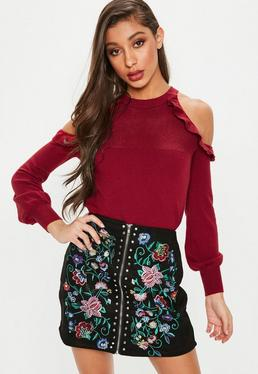 Red Frill Cold Shoulder Knitted Top