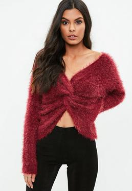 Burgundy Knot Front Sweater