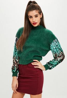 Green Sequin Sleeve Sweater