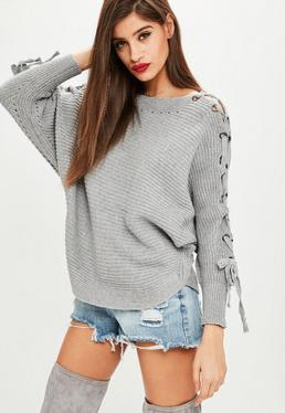 Gray Lace Up Raglan Sweater