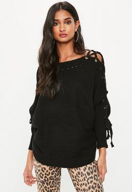 Black Lace Up Raglan Knitted Jumper