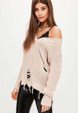 Nude Off Shoulder Distressed Sweater