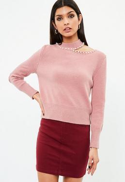 Jersey con cuello de perlas en rosa