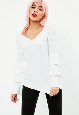 Jersey de manga con volantes en blanco