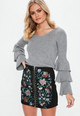 Gray Tiered Sleeve Sweater