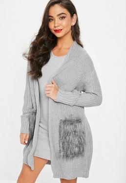 Gray Fur Pocket Cardigan