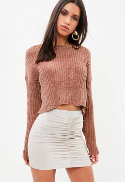 Rust Chenille Ribbed Cropped Sweater
