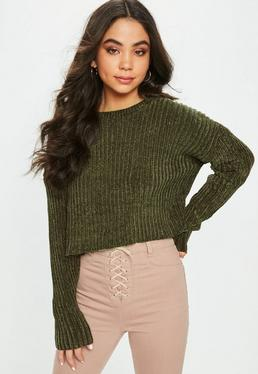 Khaki Chenille Ribbed Cropped Sweater