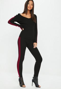 Black Ribbed Hooded Stripe Knitted Set