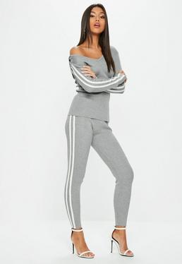 Gray Ribbed Hooded Side Stripe Knitted Set