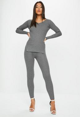 Gray V Neck Ribbed Knitted Set