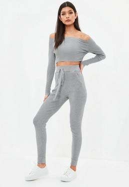 Grey Bardot Knitted Set