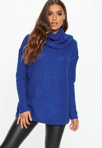 Blue Roll Neck Chunky Knitted Basic Jumper Missguided Ireland