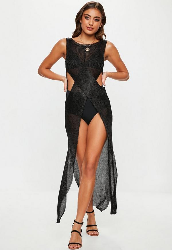 Black Knitted Metallic Wrap Maxi Dress Missguided