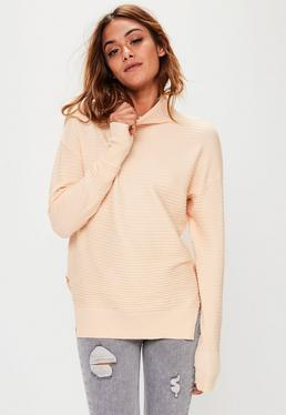 Nude Ribbed Slouchy Knitted Jumper