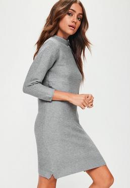 Grey Rib Sweater Dress