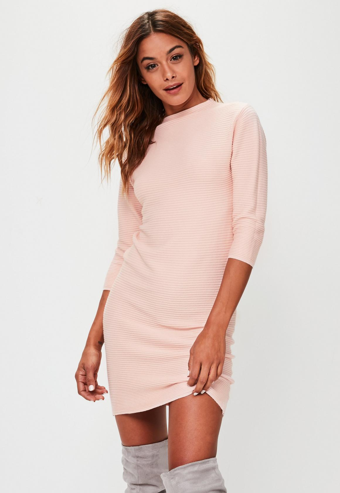 Pink Ribbed Sweater Dress | Missguided
