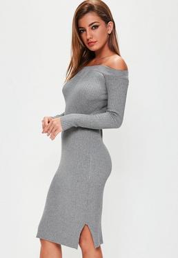 Grey Bardot Ribbed Knitted Dress