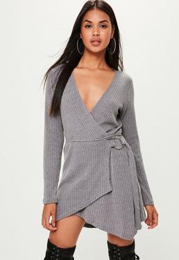 Grey Knitted Ribbed Skater Dress
