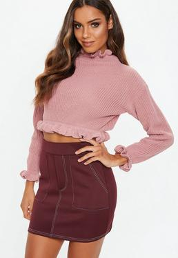 Rose Frill Ribbed Cropped Jumper