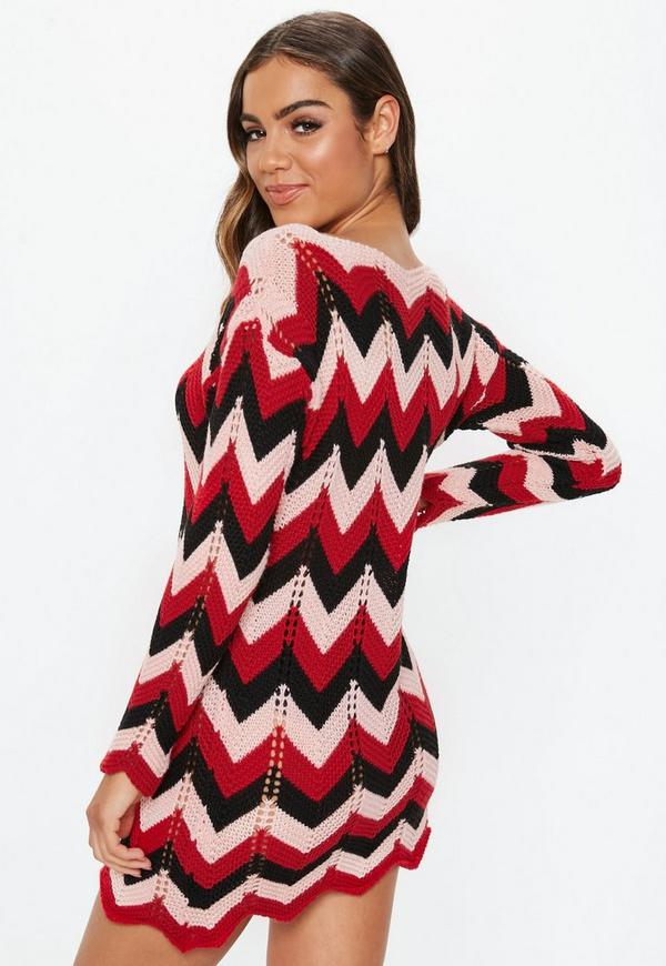 Red Chevron Knitted Jumper Dress Missguided