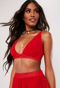 13d0f5ad94db6 Red Bralets. White Crop Tops