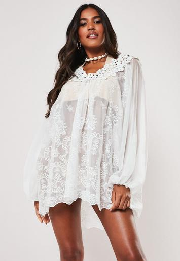 White Floral Crochet Floaty Beach Cover Up by Missguided